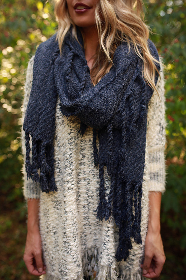 Pumpkin Patch Tasseled Blanket Scarf in Navy