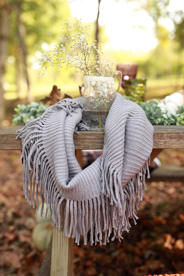 Brunching Babe Ribbed Fringe Infinity Scarf in Grey