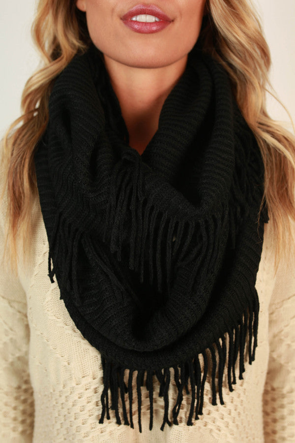 Brunching Babe Ribbed Fringe Infinity Scarf In Black