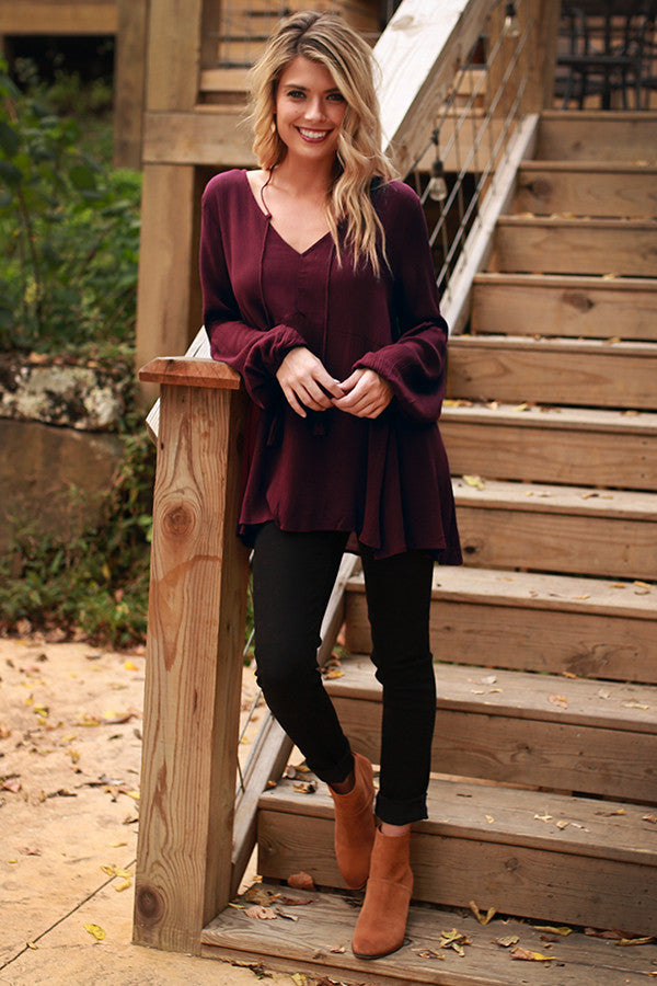 A Love Story Top In Maroon