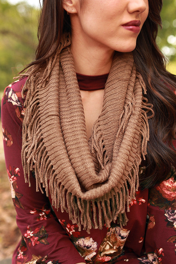 Brunching Babe Ribbed Fringe Infinity Scarf in Mocha