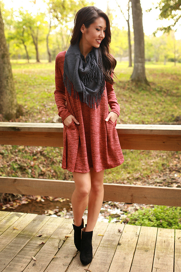 The Emma Long Sleeve Shift Dress in Smores Snuggles
