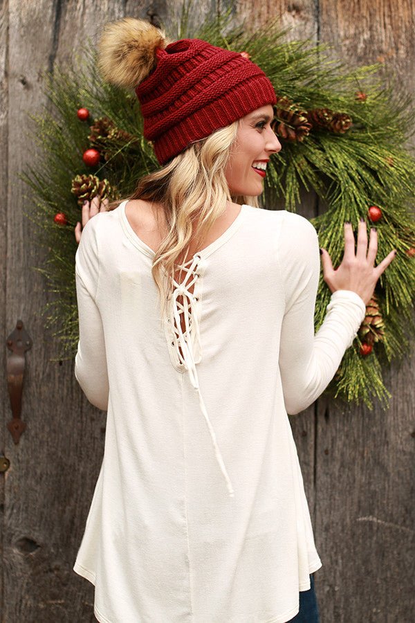 Keepin' It Chill Lace Up Tunic in Ivory
