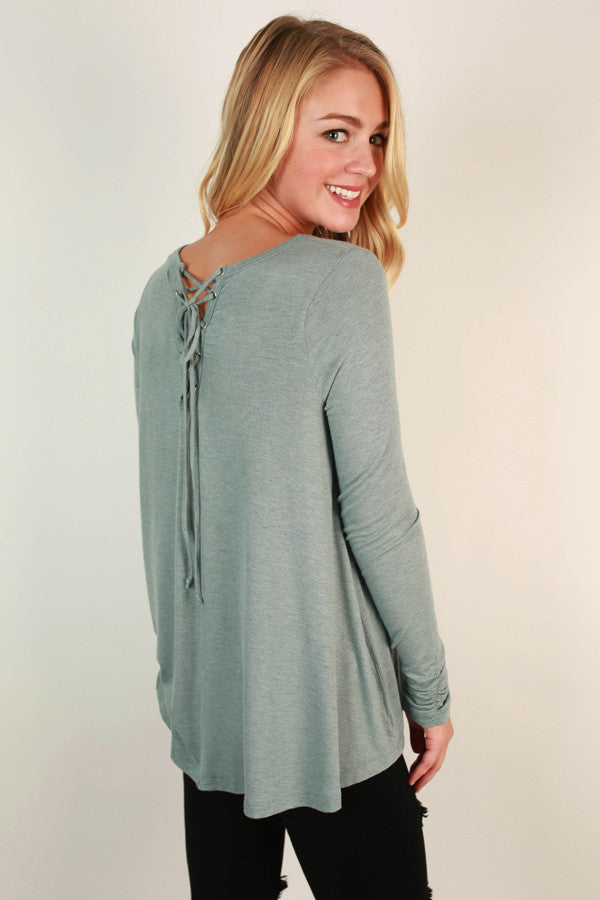 Keepin' It Chill Lace Up Tunic in Limpet Shell
