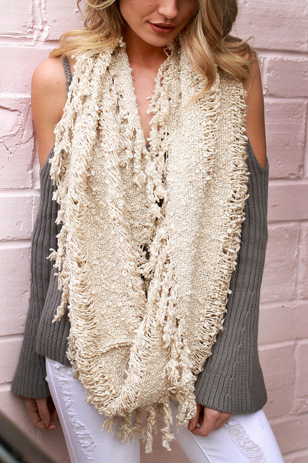 Latte Cozy Fringe Infinity Scarf In Stone