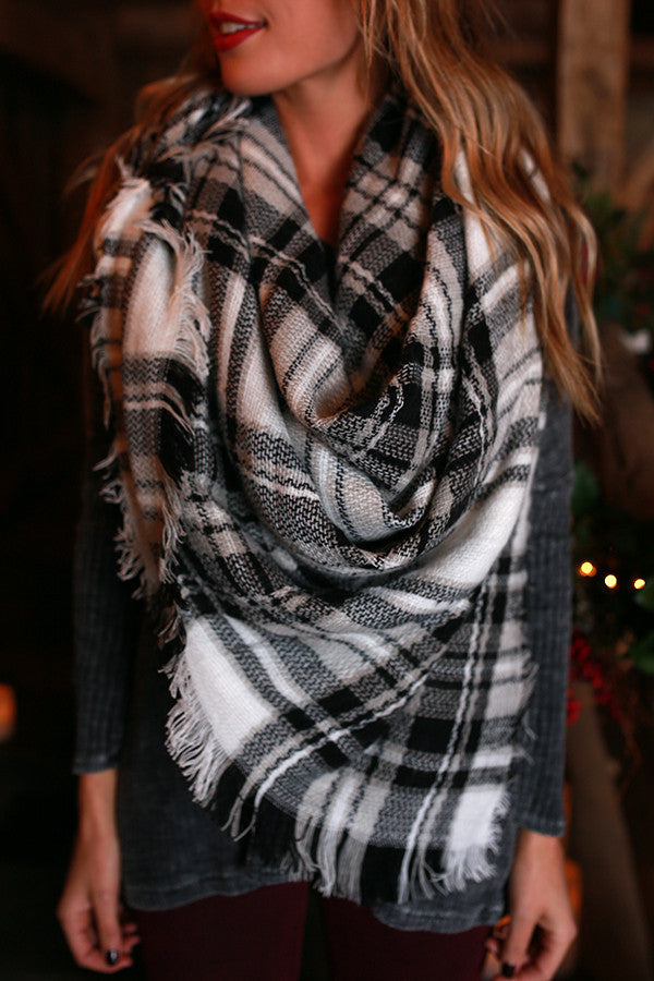 Cozy Love Blanket Scarf in Black Plaid