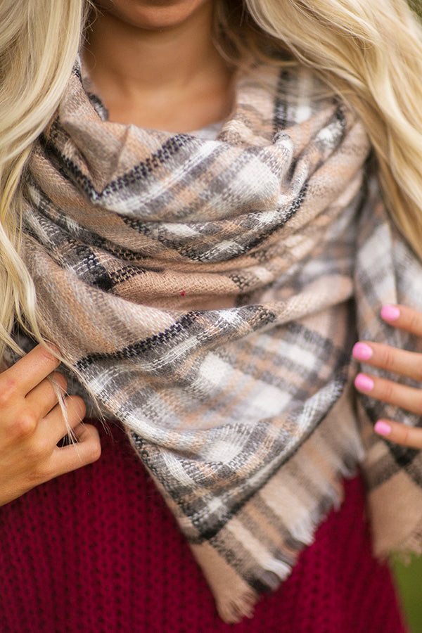Cozy Love Blanket Scarf In Warm Taupe