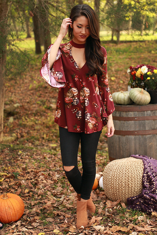 Autumn Date Night Floral Top