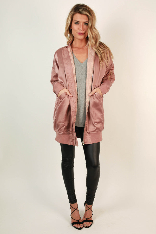 Glisten To Me Bomber Jacket in Blush