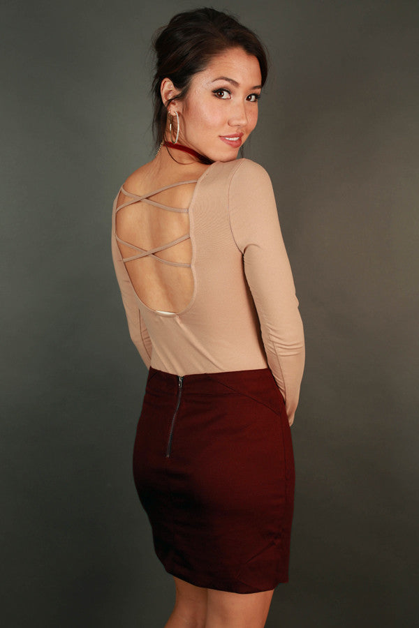 Always Posh Cut Out Bodysuit in Warm Taupe