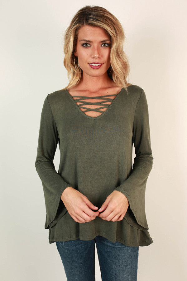Lovely Leaves Cut Out Top in Deep Forest