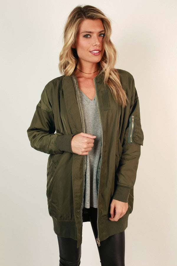 Glisten To Me Bomber Jacket in Army Green