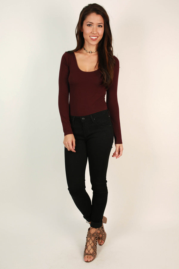 Always Posh Cut Out Bodysuit in Wine
