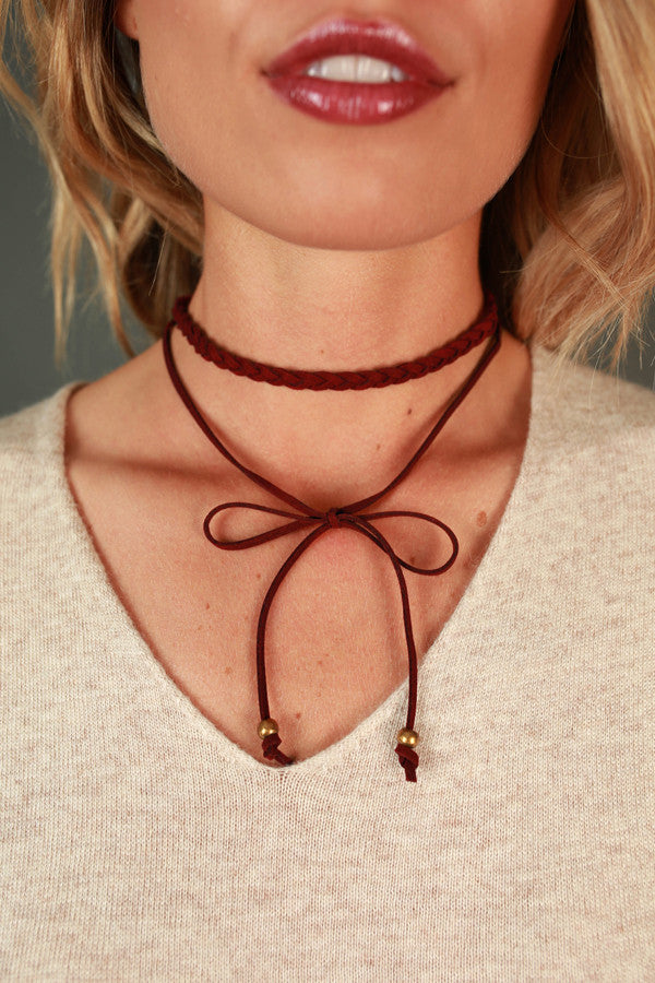 Twist Of Fate Choker In Wine