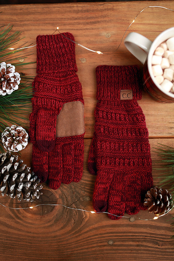 Beautiful Warmth Tech Gloves in Red Blend