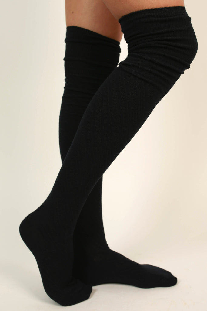 Style Watch Thigh High Socks in Navy