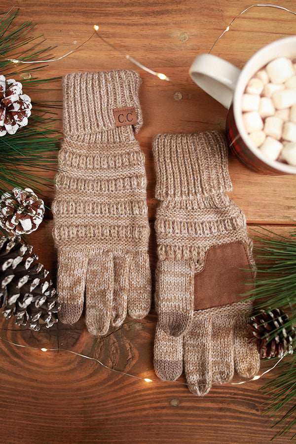 Beautiful Warmth Tech Gloves in Warm Taupe Blend