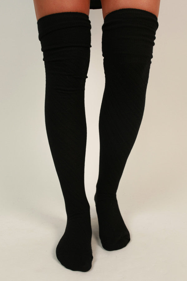 Style Watch Thigh High Socks in Black