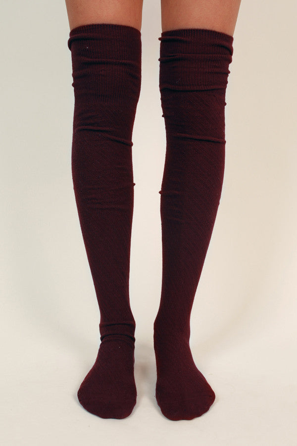 Style Watch Thigh High Socks in Wine