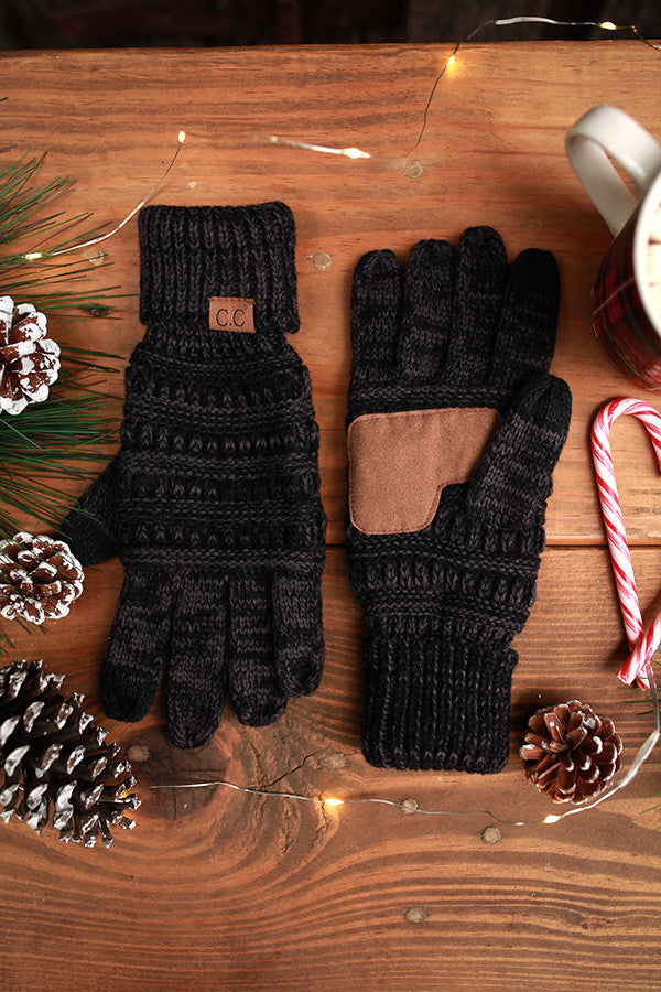 Beautiful Warmth Tech Gloves in Black Blend