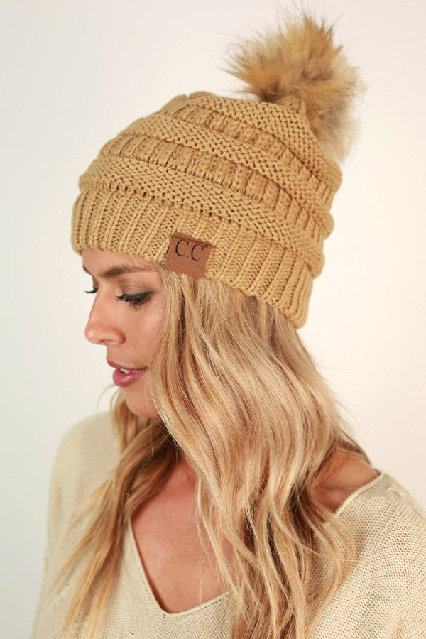 Beanie Beautiful With Faux Fur Pom in Khaki