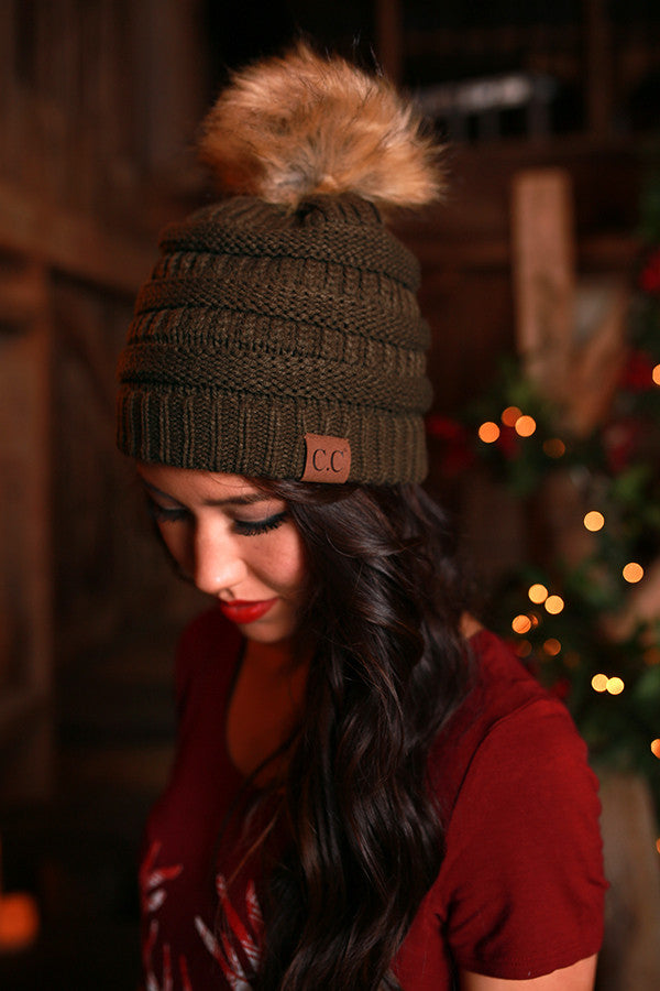 Beanie Beautiful with Faux Fur Pom in Army Green