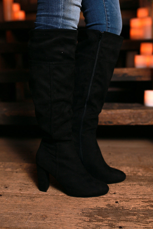 Glamorous Line Up Knee High Faux Suede Boot in Black