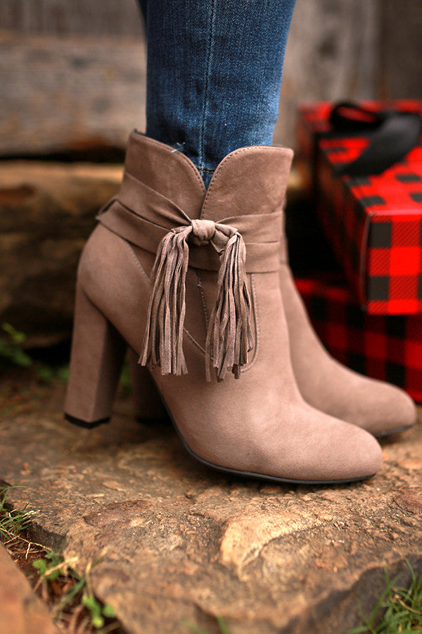 Memories In The Making Ankle Bootie in Taupe