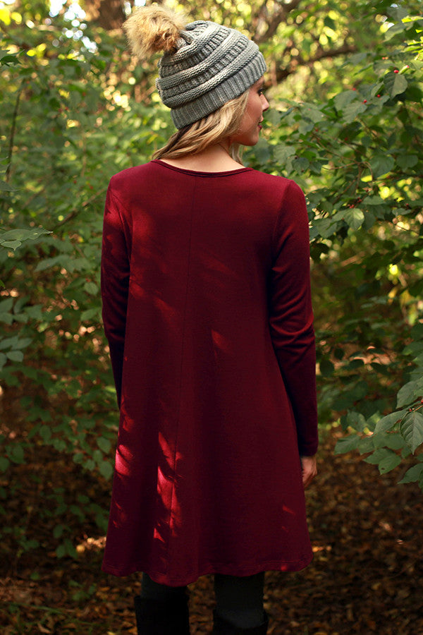 The Emma Long Sleeve Shift Dress in Merlot