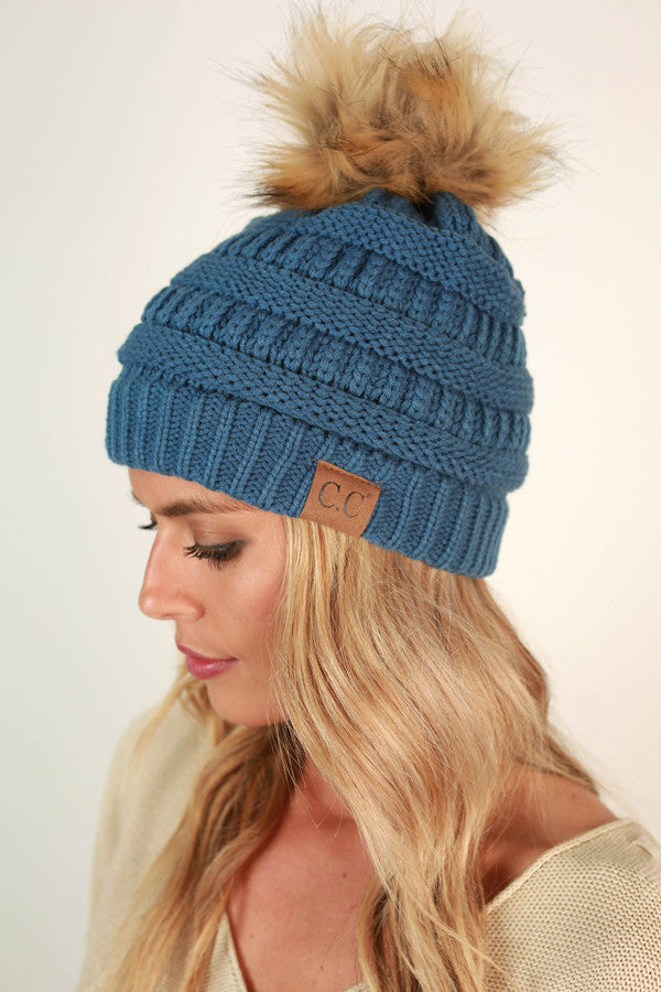 Beanie Beautiful with Faux Fur Pom in Riverside