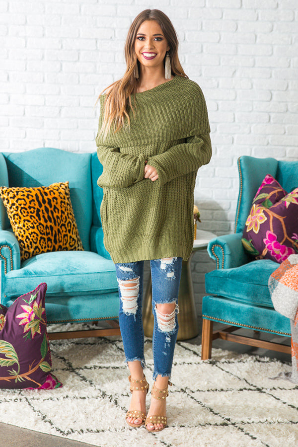 Fireside Snuggles Sweater in Olive