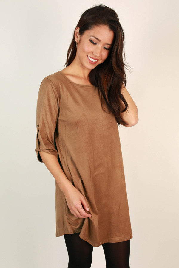 Classic Babe Faux Suede Shift Dress in Brown