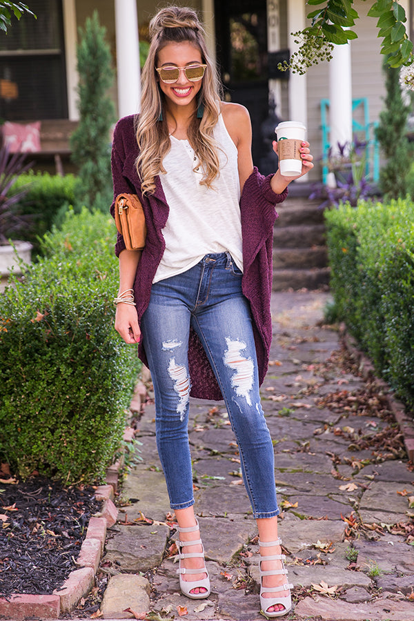 Fall Breeze Cardigan in Windsor Wine