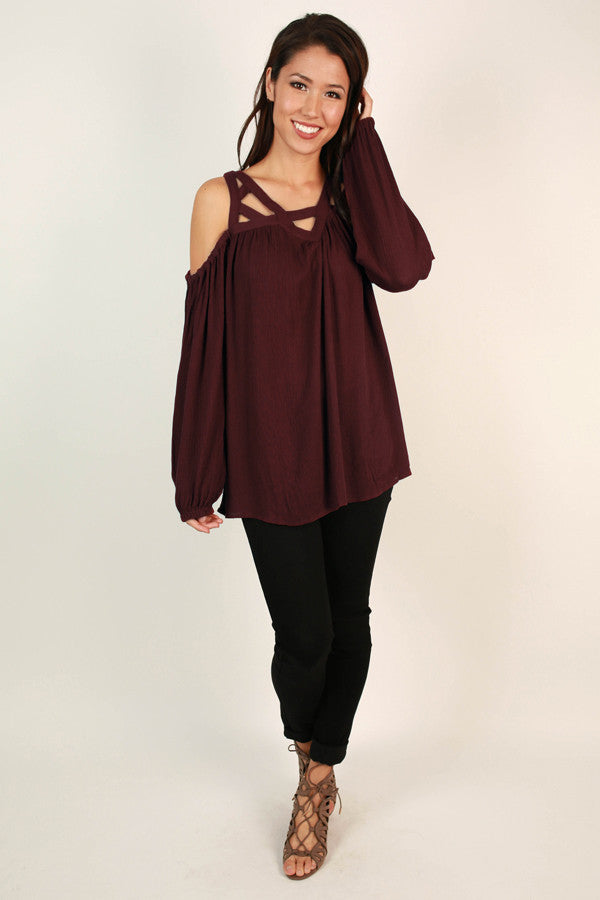 Haute For Happy Hour Cut Out Top in Wine