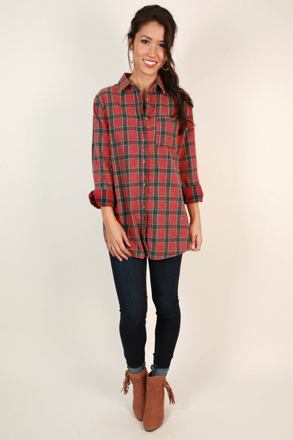 Bonfire Baby Flannel Tunic in Aurora Red