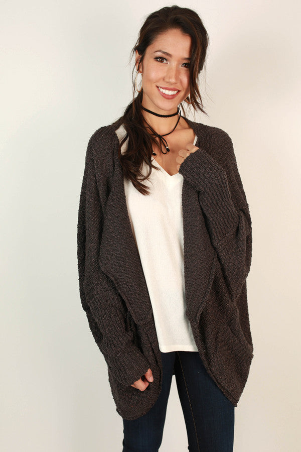Fall Breeze Cardigan in Charcoal