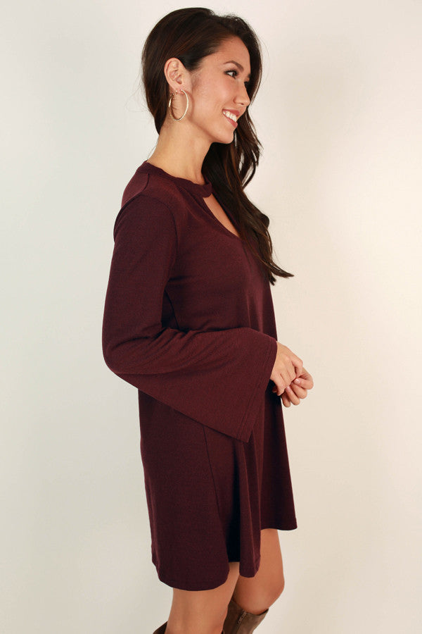 Date Night Gone Right Shift Dress in Maroon
