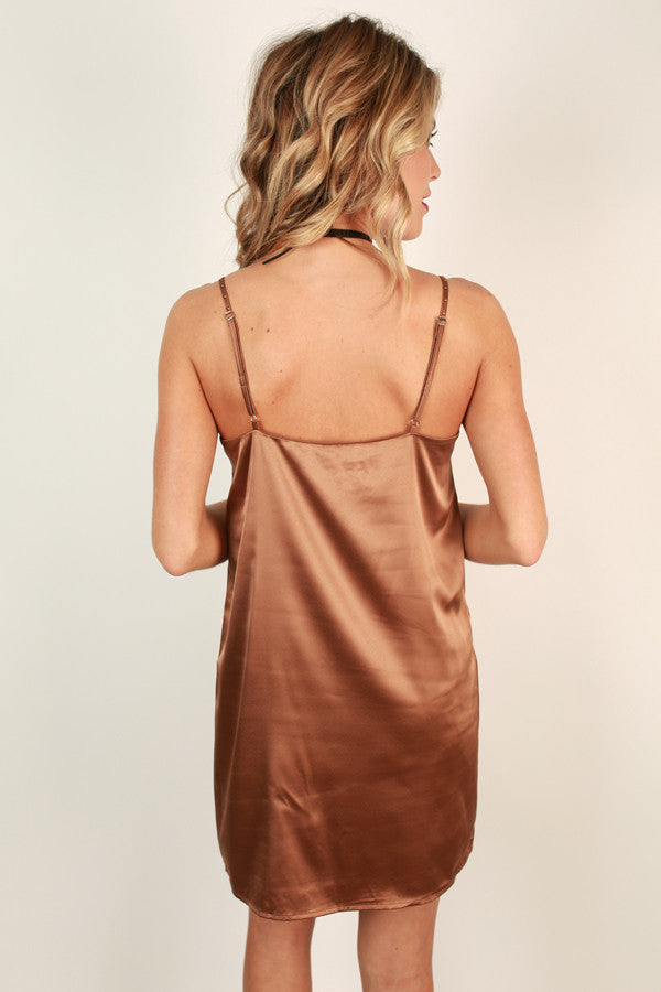 Oh So Striking Shift Dress in Chocolate