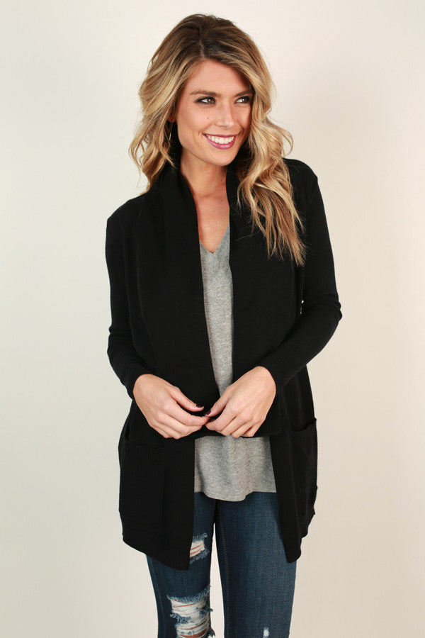 Never Miss A Beat Cardigan in Black