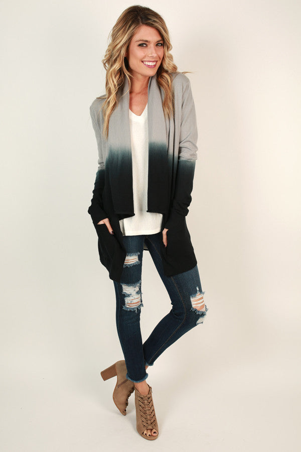 Never Miss A Beat Ombre Cardigan in Grey
