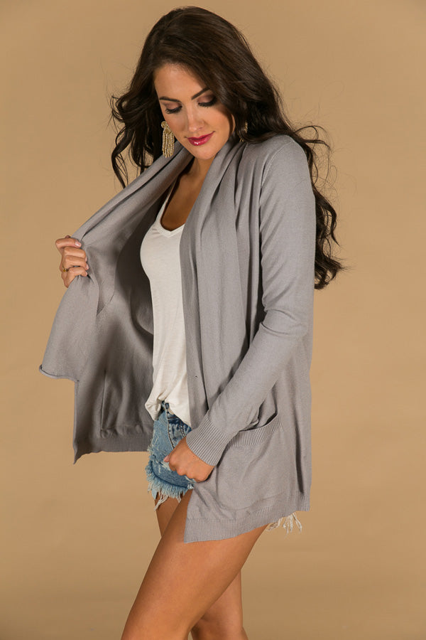 Never Miss A Beat Cardigan in Grey