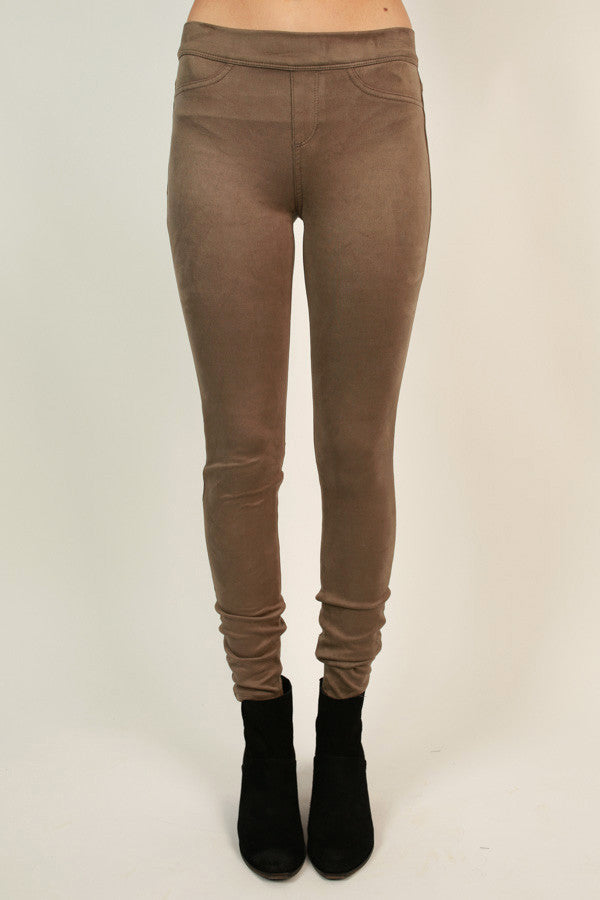 Let The Chic Times Roll Faux Suede Legging in Warm Taupe