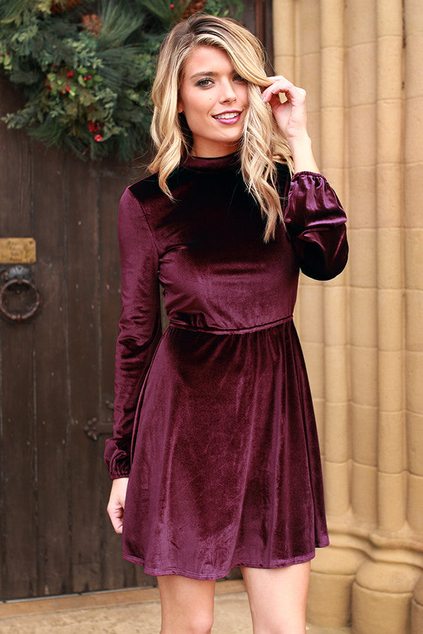Life of Grandeur Velvet Dress in Wine