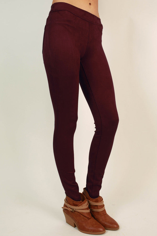 Let The Chic Times Roll Faux Suede Legging in Sangria