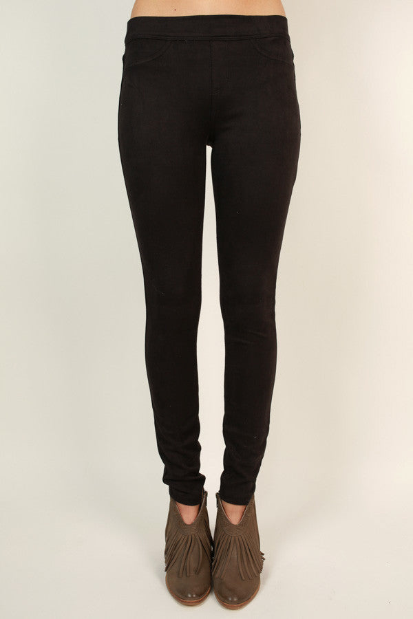 Let The Chic Times Roll Faux Suede Legging in Black