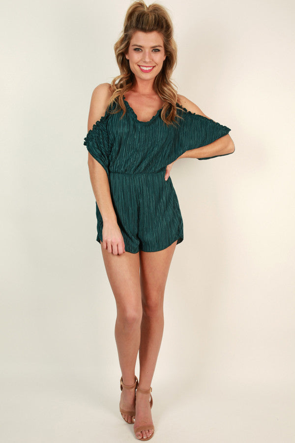 Cocktails And Cheer Cold Shoulder Romper