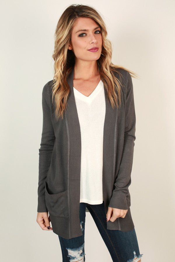Brunching Babes Cardigan in Charcoal