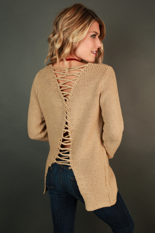 Never Look Back Lace Up Sweater
