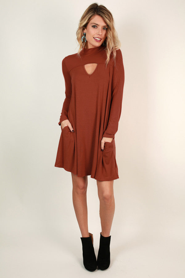 Dinner and Drinks Shift Dress in Rust
