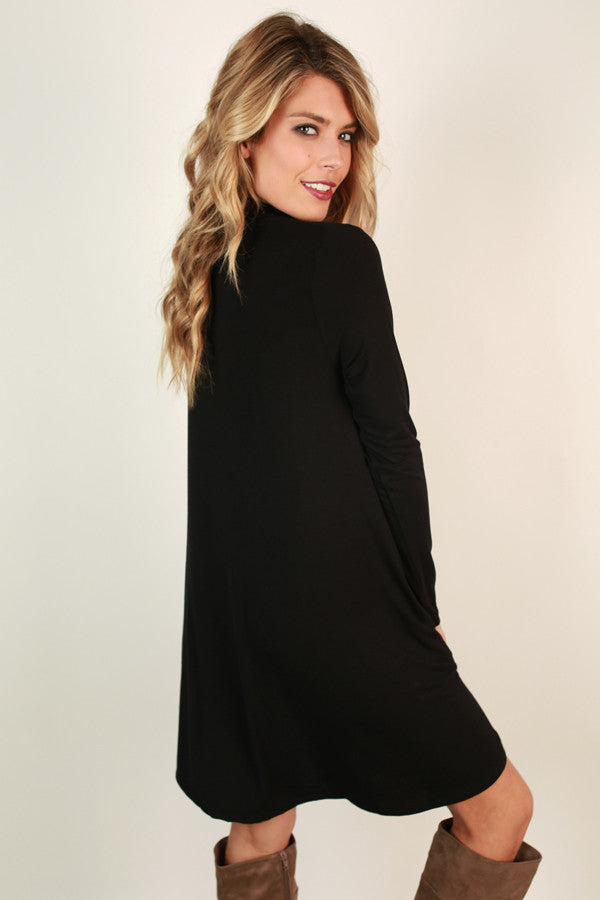 Dinner and Drinks Shift Dress in Black